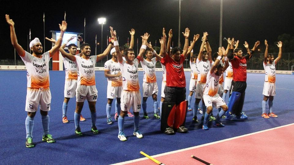Indian Junior Men's Hockey team after defeating Malysia at the 7th Sultan of Johor Cup.