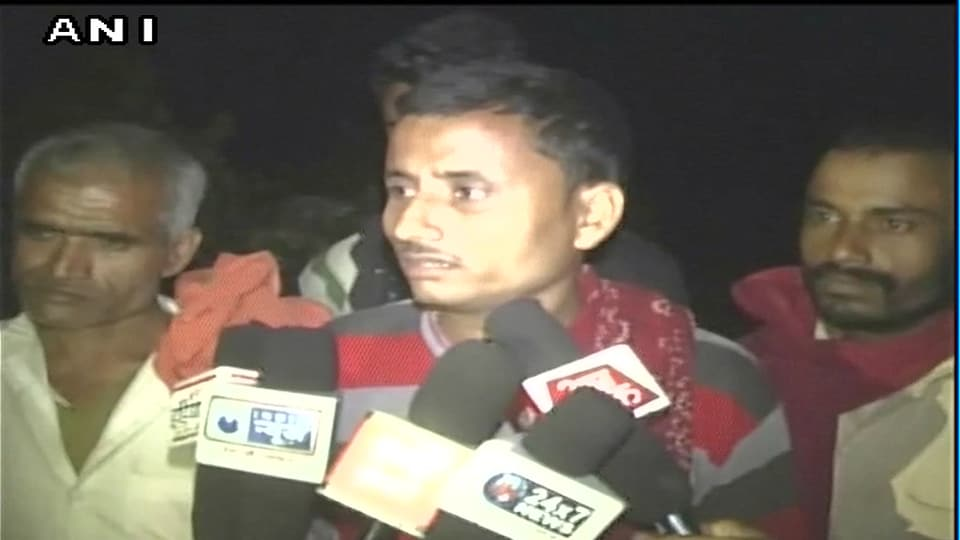 The father of the five-year-old boy who was killed after he was hit by a car in Uttar Pradesh cabinet minister Om Prakash Rajbhar 's cavalcade near Gonda speaking to reporters.