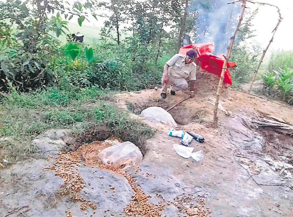An illicit liquory manfucaturing unit being destroyed in Bihar's Rohtas district.