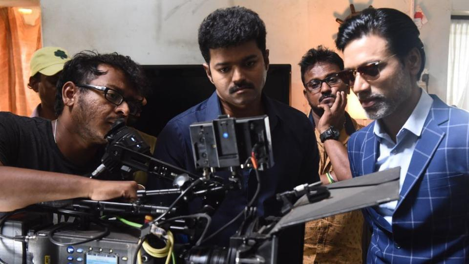 Director of photography, GKVishnu with actor Vijay and SJSuryah on the sets of Mersal.