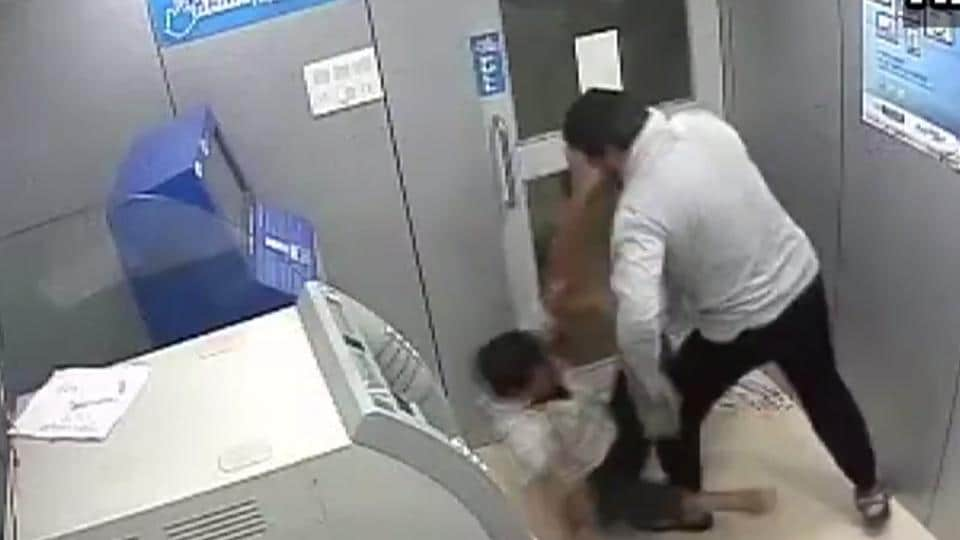 The early morning robbery bid on October 27 was captured on the CCTV installed in the ATM booth.