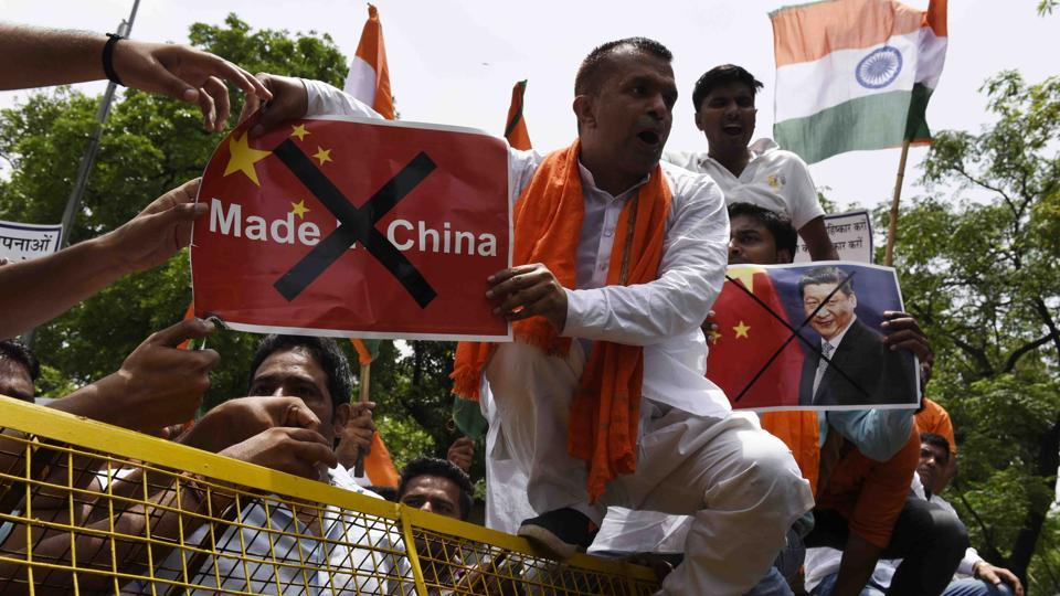 The Swadeshi Jagran Manch members hold a protest against Chinese goods in New Delhi.  The RSSaffiliate has launched a campaign for the boycott of China-made goods.