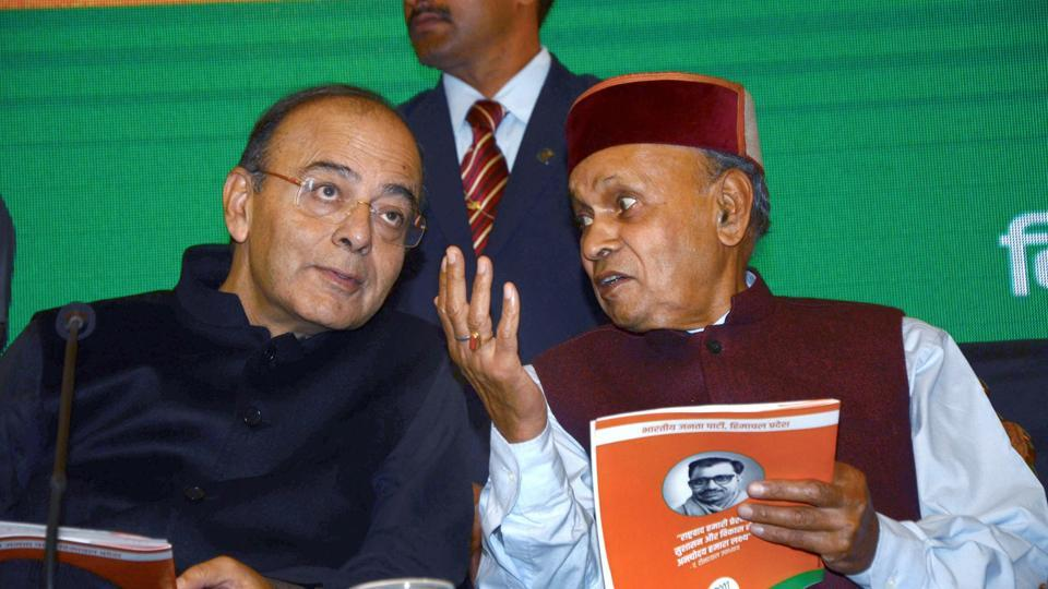 Union finance minister Arun Jaitley with former chief minister Prem Kumar Dhumal during launch of BJP Golden Vision document for the Assembly elections, in Shimla on Sunday.