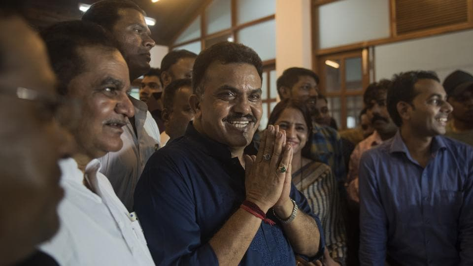 Mumbai Congress president Sanjay Nirupam intracts with media at his residence regarding FIR registered against him on Sunday.
