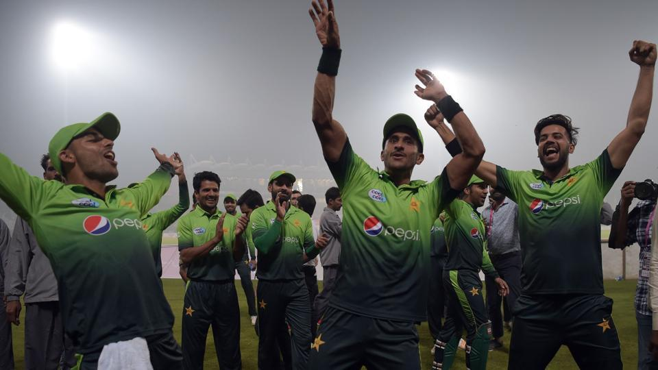 Pakistan cricket team players celebrate after winning the third and final T20 match against Sri Lanka in Lahore.