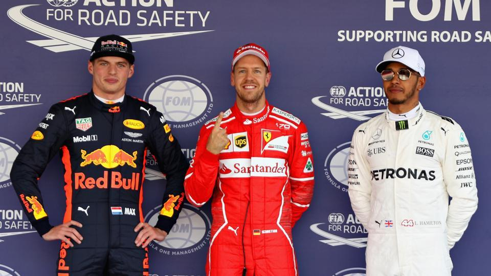 Sebastian Vettel secured his 50th career pole position as he kept his slim championship chances alive ahead of the Mexico Grand Prix while Lewis Hamilton finished third in qualifying.