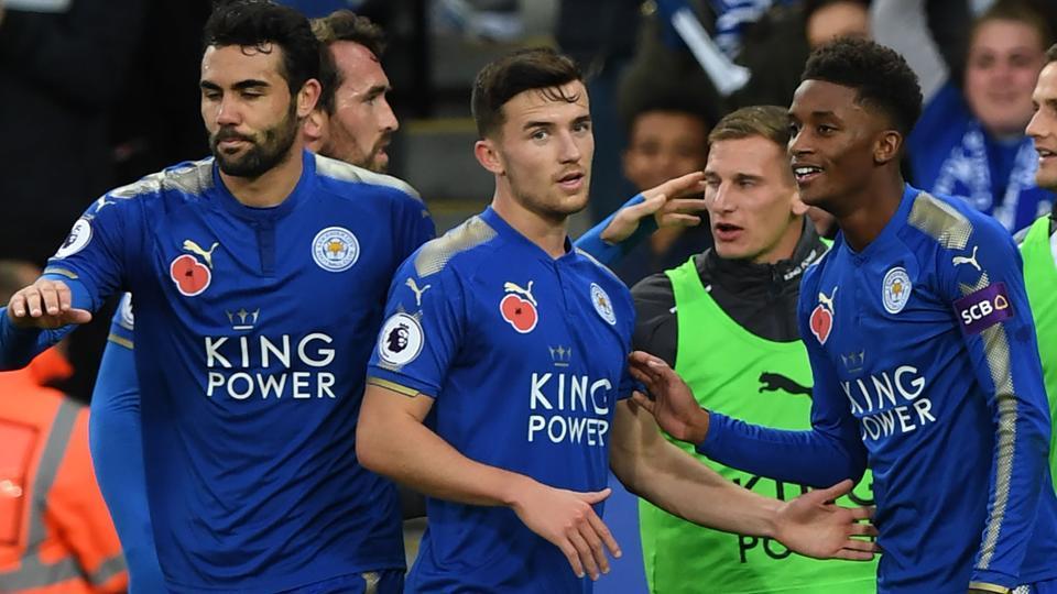 Leicester City midfielder Demarai Gray (R) celebrates the team's second goal against Everton.