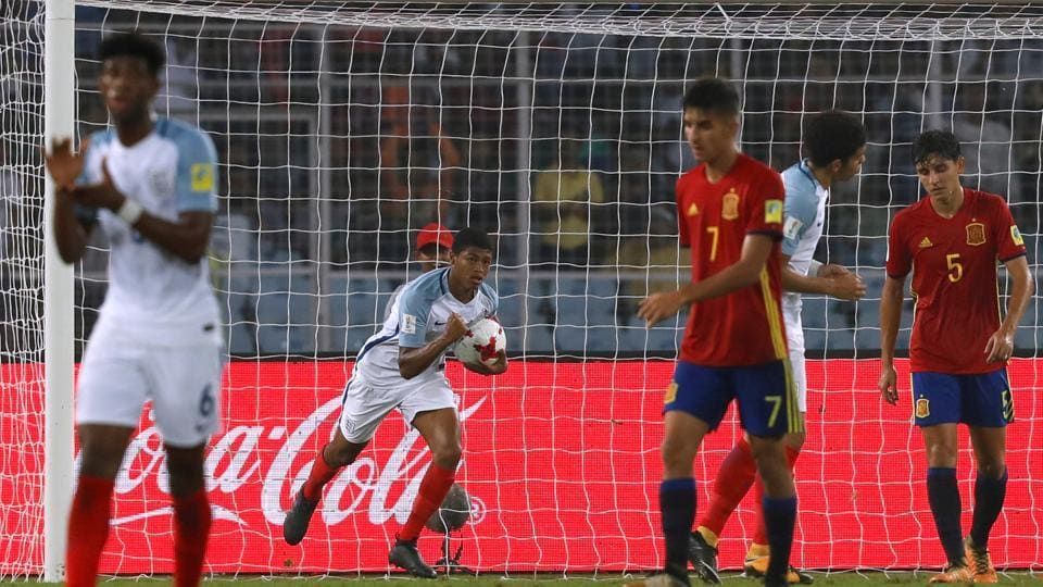 Rhian Brewster scored a goal for England in the first half and it boosted the side as they came back from a two-goal deficit to defeat Spain 5-2 in the FIFAU-17 World Cup final in Kolkata.