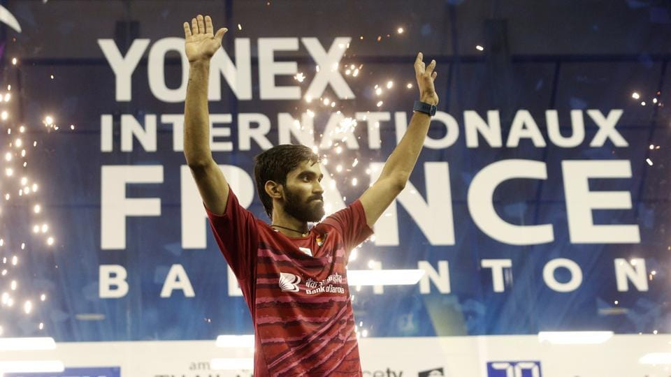 Kidambi Srikanth celebrates after winning the French Open Superseries defeating Kenta Nishimoto.