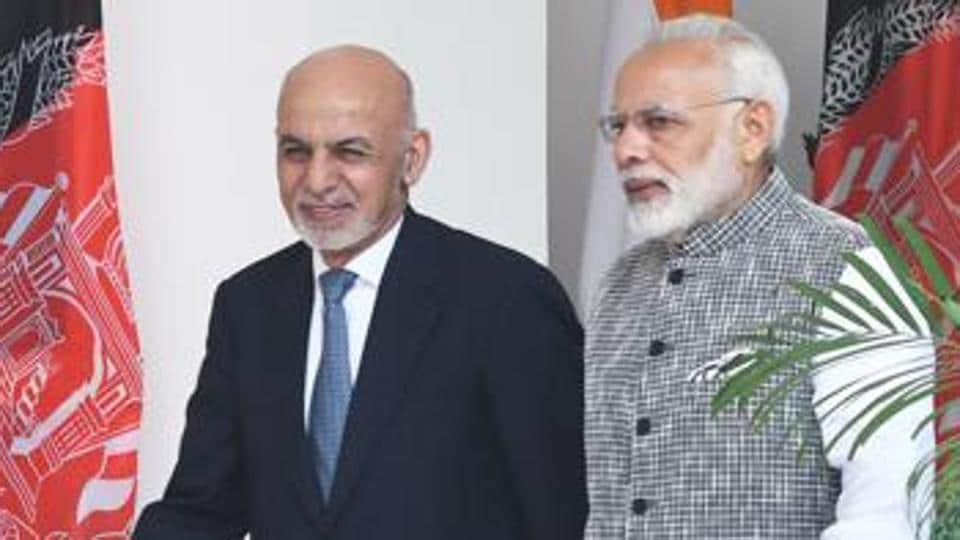 Prime Minister Narendra Modi with Afghanistan President Mohammad Ashraf Ghani at Hyderabad House in New Delhi on October 24, 2017.