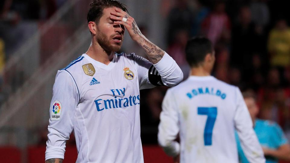Real Madrid's Sergio Ramos looks dejected after their loss against Girona.