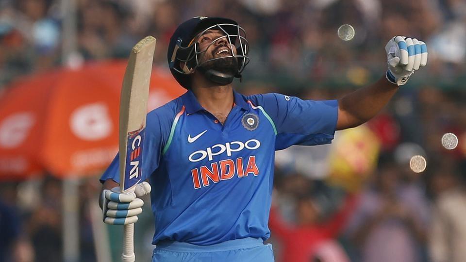 Rohit Sharma celebrates after scoring a century during India vs New Zealand third ODI on Sunday.