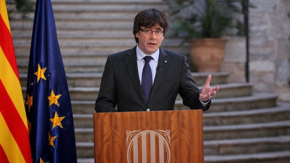 Sacked Catalan President Carles Puigdemont makes a statement the day after the Catalan regional parliament declared independence from Spain in Girona, Spain, October 28, 2017.