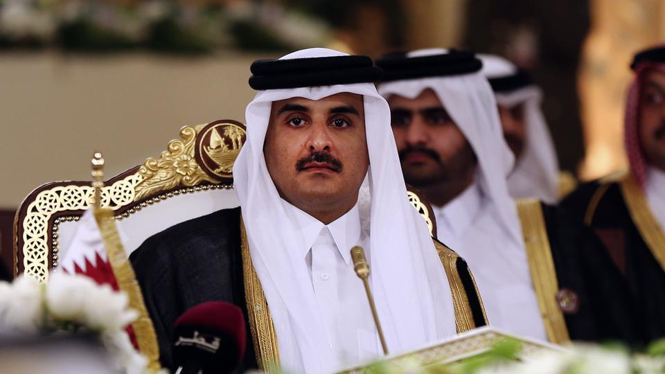 FILE- In this Tuesday, Dec. 9, 2014 file photo, Qatar's Emir Sheikh Tamim bin Hamad Al-Thani attends a Gulf Cooperation Council summit in Doha, Qatar.