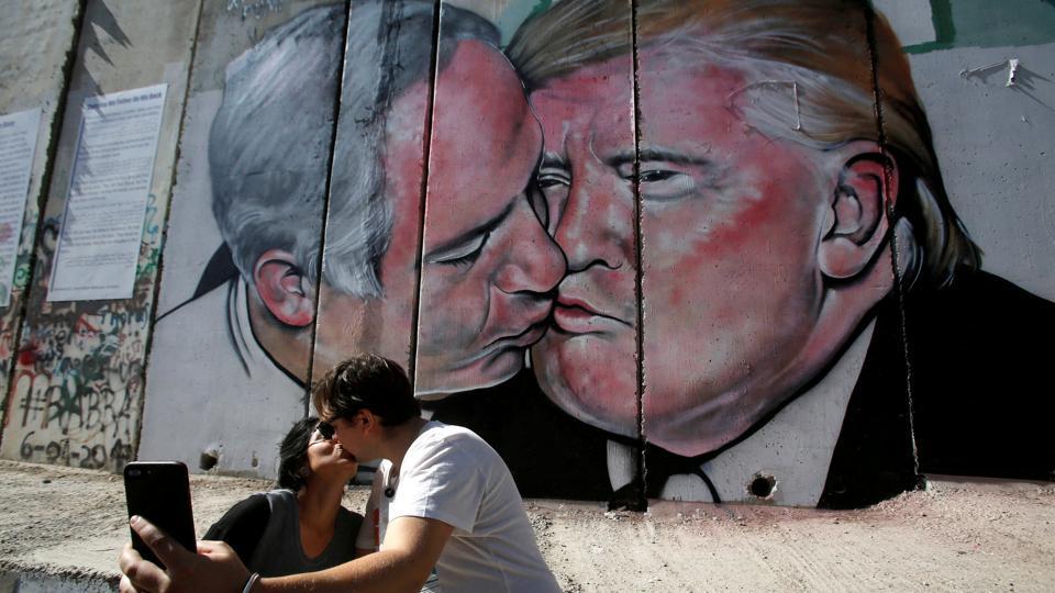 Donald Trump,Benjamin Netanyahu,West Bank wall mural