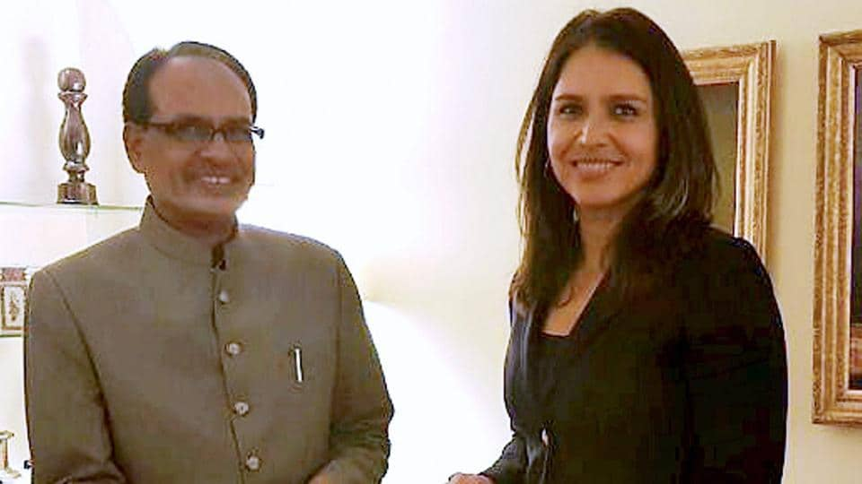 Madhya Pradesh chief minister Shivraj Singh Chouhan in a meeting with the Member of the US House of Representatives Tulsi Gabbard in Washington on Tuesday.