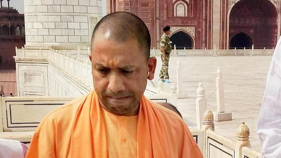 UP chief minister Yogi Adityanath during a visit to the Taj Mahal in Agra.
