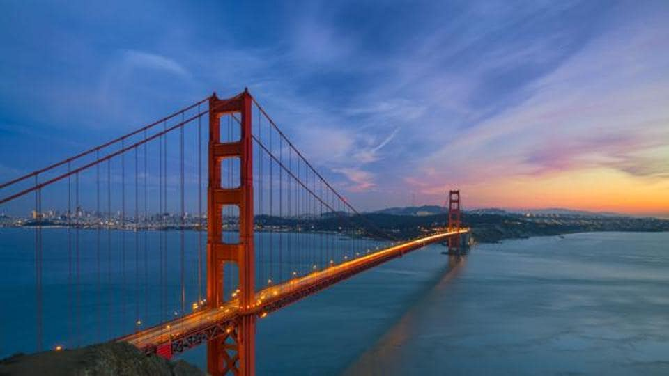 Golden Gate Bridge in San Francisco is one of its major landmarks.