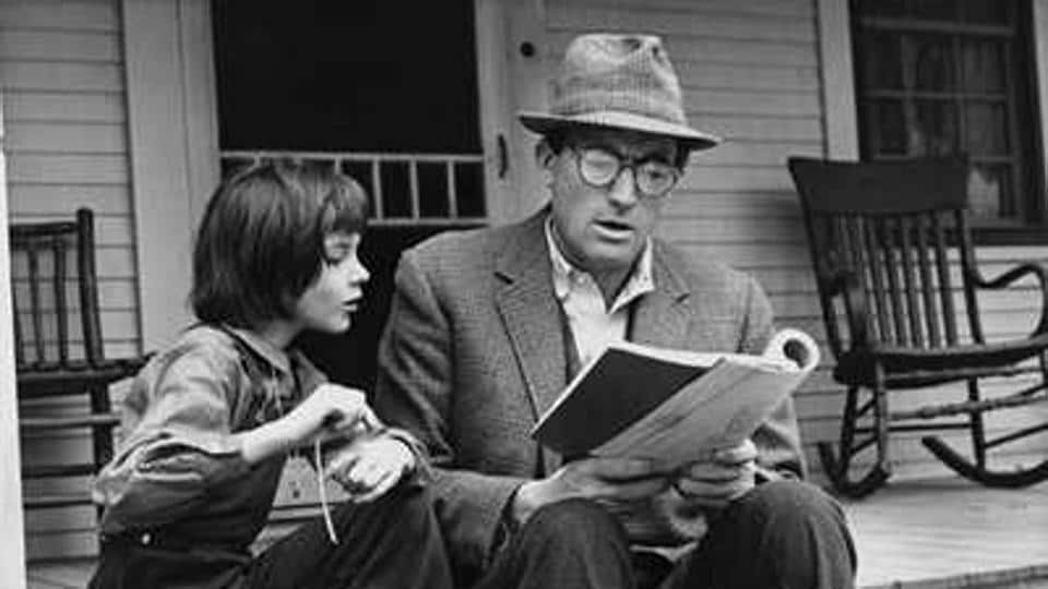 Gregory Peck and Mary Badham in a still from the 1962 film adaptation of Harper Lee's novel.