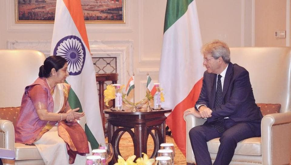 External affairs minister Sushma Swaraj meets Italian Prime Minister Paolo Gentiloni on Monday. (Photo: MEA Twitter)