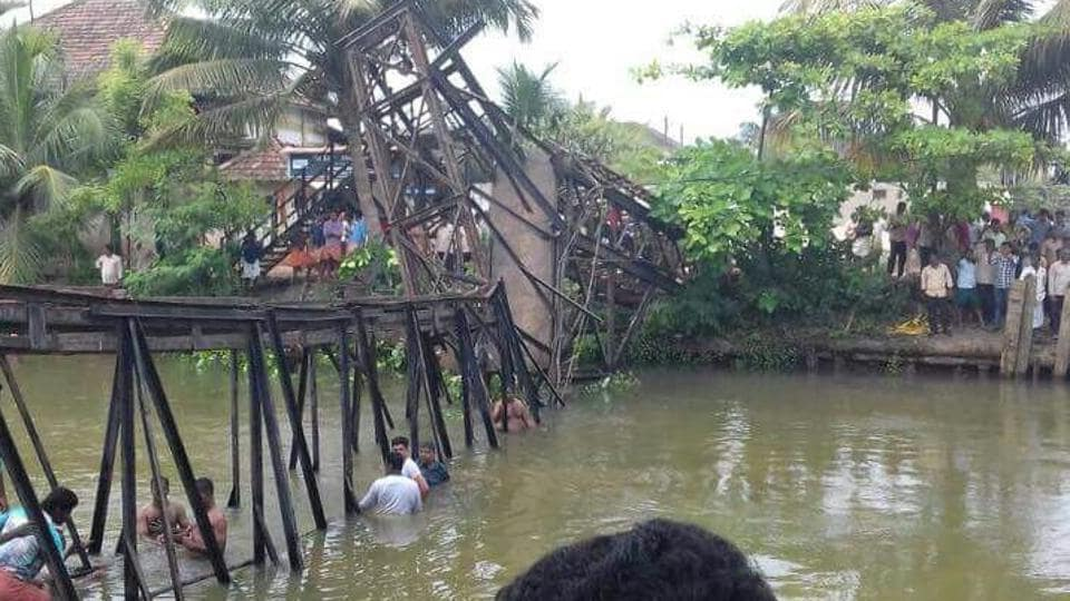 The iron bridge that collapsed in Chavara near Kollam. (ANI Twitter)