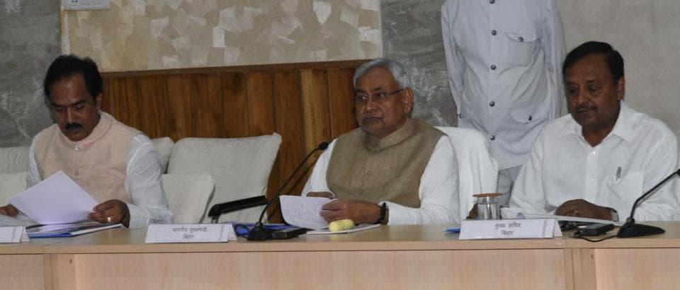 Chief minister Nitish Kumar at the Udyami panchayat function in Patna on Monday.