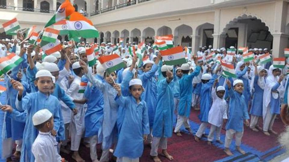 File photo of  students at a madrasa  celebrating Independence Day in Moradabad.