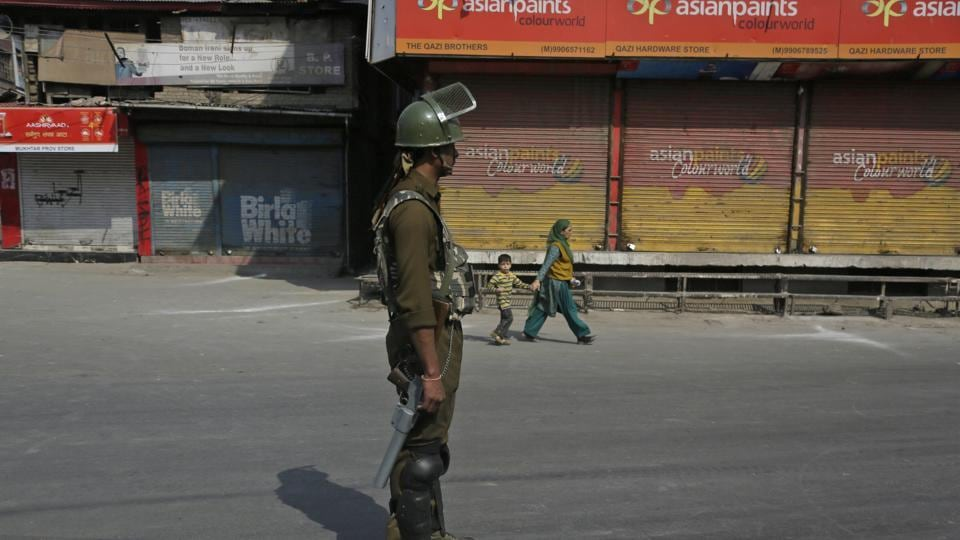A paramilitary soldier stands guard during a strike called by separatists in Srinagar.