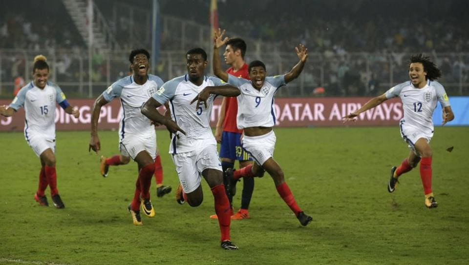 England's Marc Guehi celebrates after scoring the third goal for his team during the FIFA U-17 World Cup final match between England and Spain in Kolkata, India. England won the final 5-2.