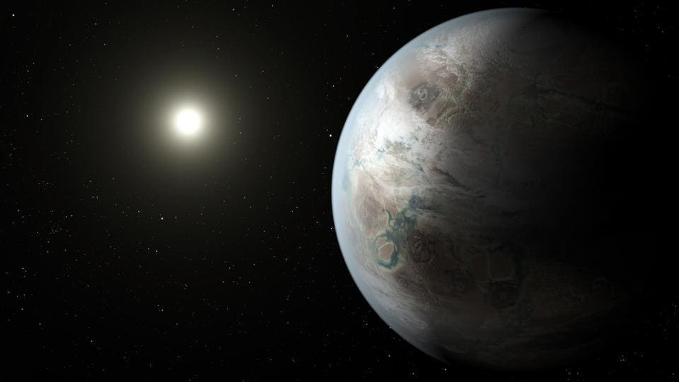 This artist rendering provided by NASA/JPL-Caltech/T Pyle depicts one possible appearance of the planet Kepler-452b, the first near-Earth-size world to be found in the habitable zone of a star that is similar to our sun.