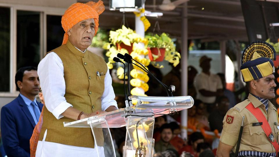 Union home minister Rajnath Singh addresses at the passing out parade at Sardar Vallabhbhai Patel National Police Academy (SVP NPA) in Hyderabad on Monday.