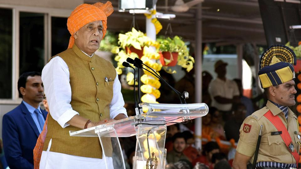 Union home minister Rajnath Singh addresses the passing out parade at Sardar Vallabhbhai Patel National Police Academy in Hyderabad. His ministry has liberalised the Arms Rules in order to encourage the manufacturing activity.