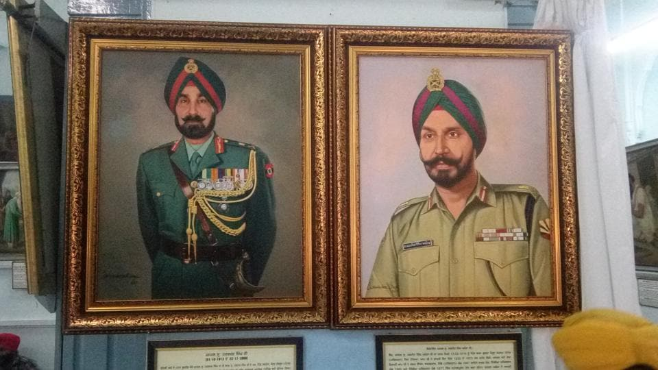 Portraits of Late Lt Gen Harbaksh Singh and Lt Gen Jagjit Singh Arora at the Central Sikh Museum in Amritsar's Golden Temple on Tuesday.