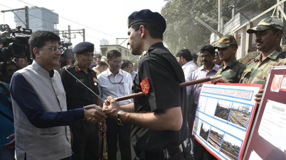Union Railway Minister Piyush Goyal visited the Elphinstone Road station premises in Mumbai on Tuesday, along with Defence Minister Nirmala Sitharaman and Chief Minister Devendra Fadnavis.