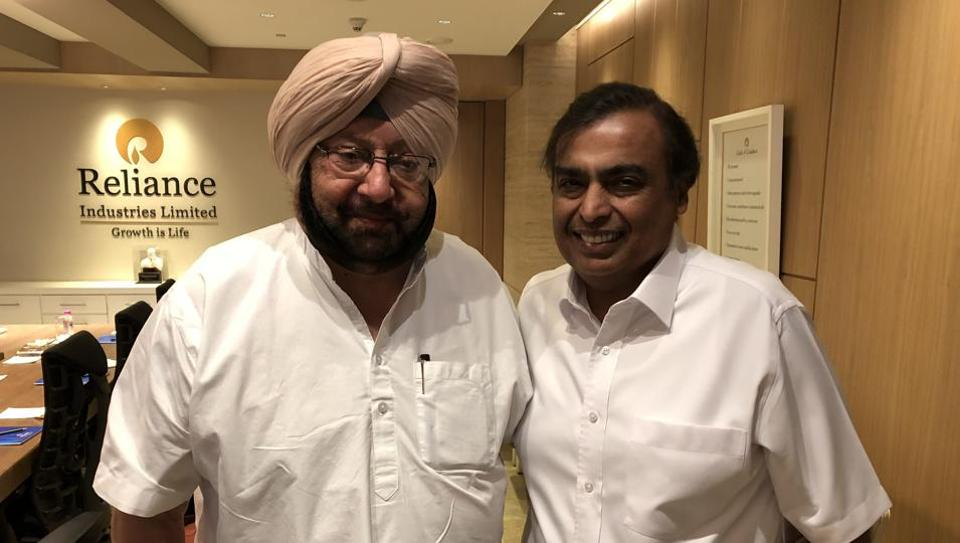 """Capt said that Ambani's support will """"go a long way in providing early impetus for bringing a change in Punjab""""."""
