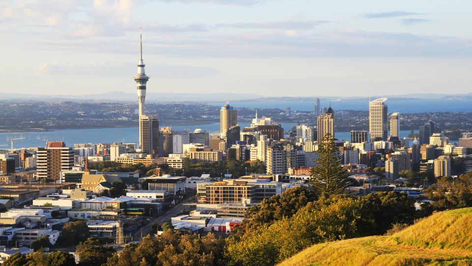 View of Auckland from Mt Eden in New Zealand.