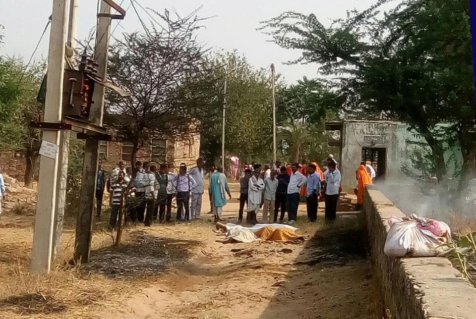 Bodies of victims lie at the site of the transformer blast in Shahpura on Tuesday.