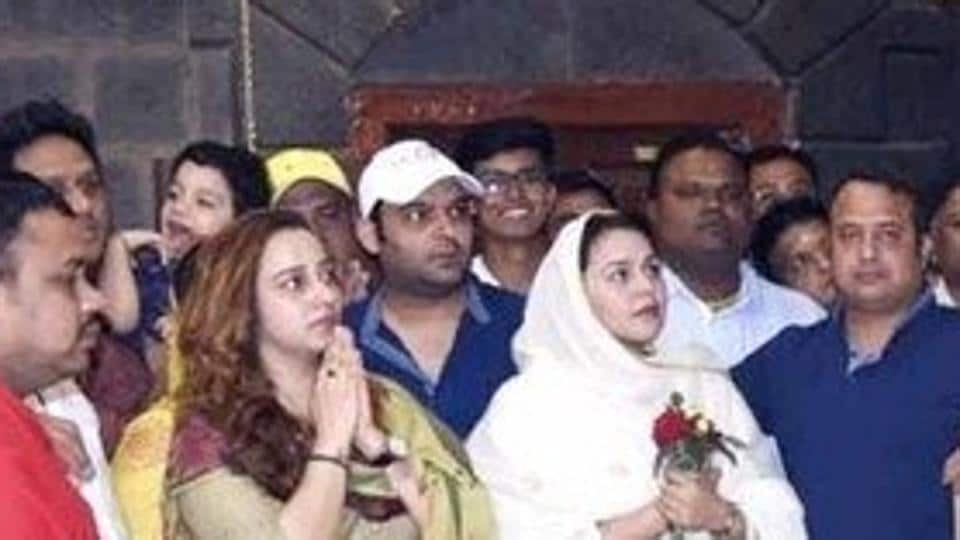 Kapil Sharma was spotted at the Shirdi temple with girlfriend Ginni Chatrath. Sharma's film Firangi releases later this month.