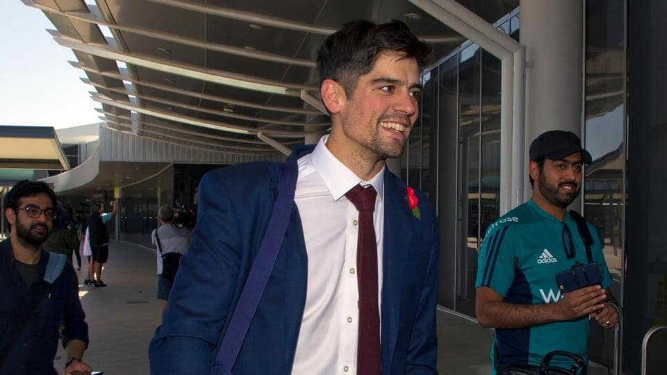 Former England cricket team captain Alastair Cook arrives for the Ashes cricket Test match series, at Perth Airport on October 29, 2017.