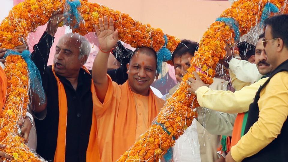 Uttar Pradesh chief minister Yogi Adityanath during an election rally in Nagrota Bagwan.