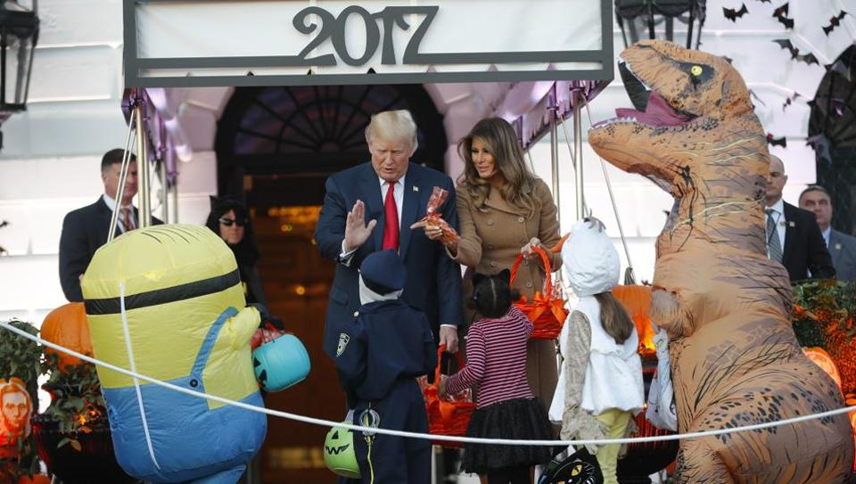 Image result for President Donald Trump and Wife at the white house Halloween celebration.