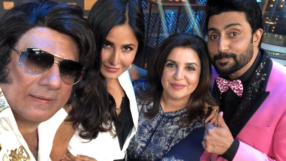 Farah Khan poses with Katrina Kaif, Boman Irani and Abhishek Bachchan.