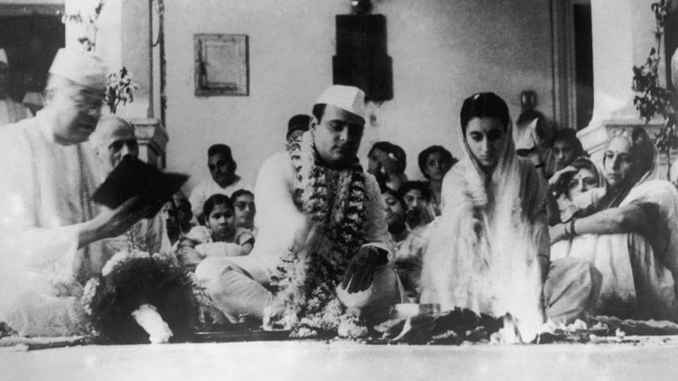 Indira Gandhi with politician and journalist Feroze Gandhi during their wedding in Allahabad on October 8, 1942. Feroze asserted his love to Indira in 1933 but his proposal was rejected by her mother. In subsequent years, Feroze came closer to the Nehru family while supporting Indira as her mother's condition worsened. The couple married in the spring of 1942.  (Keystone / Hulton Archive / Getty Images)
