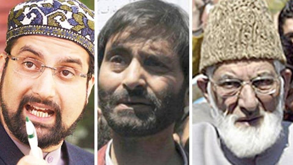 A combination photo of Kashmiri separatist leaders Mirwaiz Umar Farooq, Yasin Malik, Syed Ali Shah Geelani.