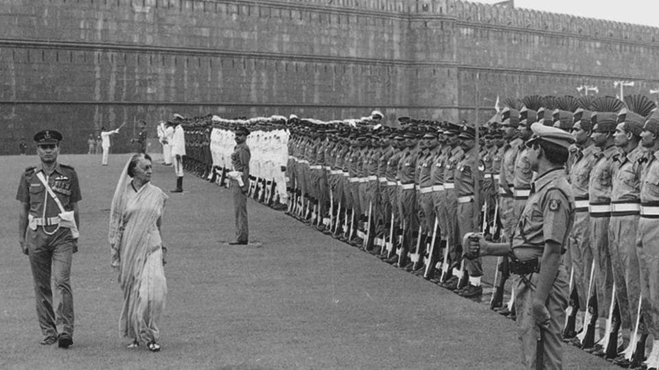 Indira Gandhi inspects the guard of honor during the Independence day parade on August 15, 1983. She was sworn in as the first women Prime Minister of India in the winter of 1966. Serving her first term till March 1977 and again from January 1980 until her assassination in October 1984, she became the second longest serving Prime Minister after her father. (KK Chawla / HT Photo)