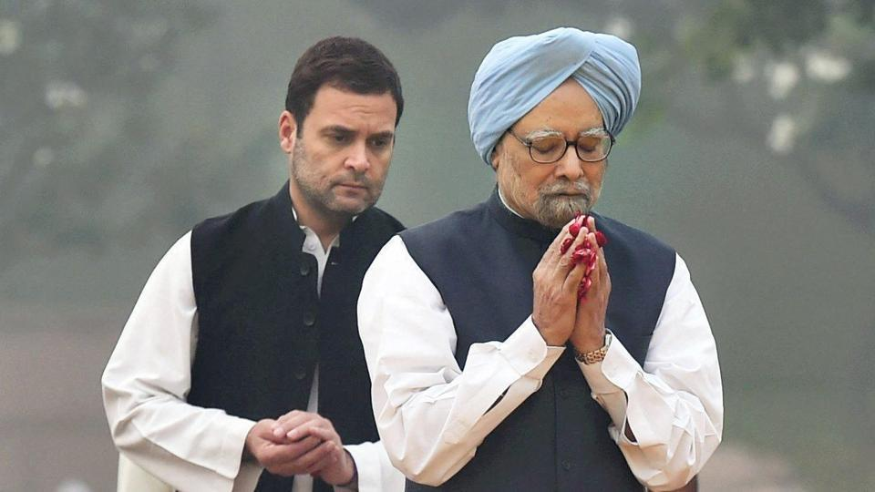 Former Prime Minister Manmohan Singh and Congress vice president Rahul Gandhi paying tributes to former Prime Minister Indira Gandhi on her 33rd death anniversary at Shakti Sthal in New Delhi on Tuesday.