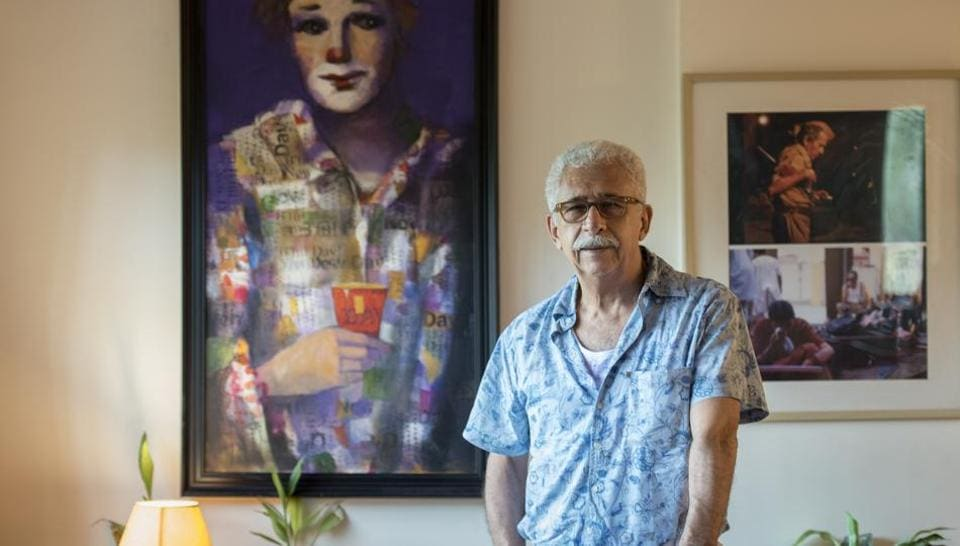 Bollywood actor Naseeruddin Shah poses for the picture at his residence in Mumbai.