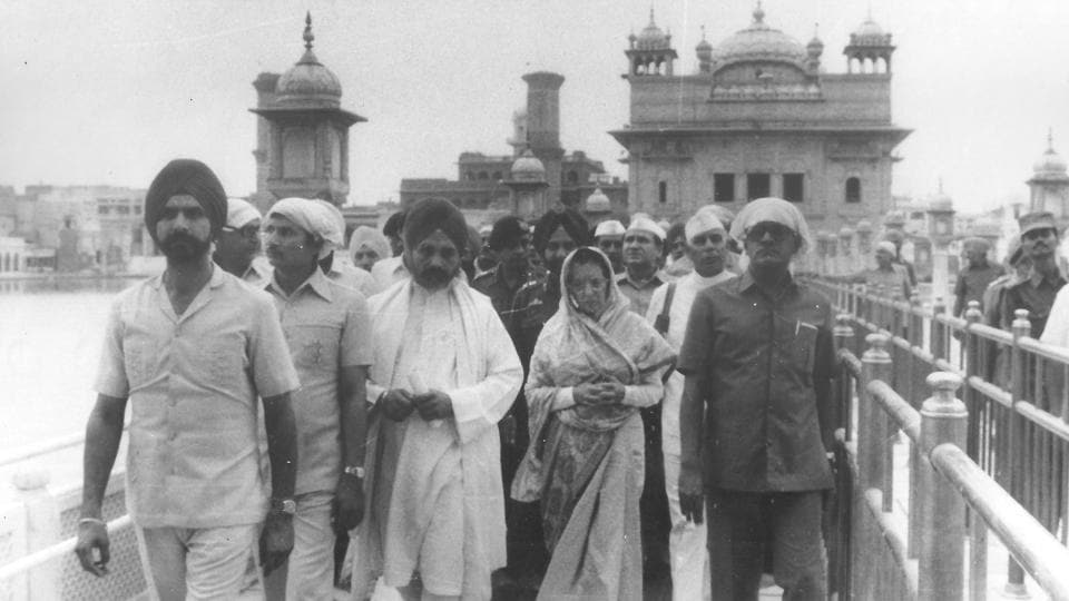 Indira Gandhi exits Shri Harminder Sahib, Amritsar after offering prayers on June 23, 1984. A military operation code-named Blue Star was launched by the Indira Gandhi government against the surging Khalistani movement on June 06,1984 with Indian armed forces taking control of the complex the following day. The move was viewed as a grave affront to the holiest shrine of the Sikh community. (PIB photo)