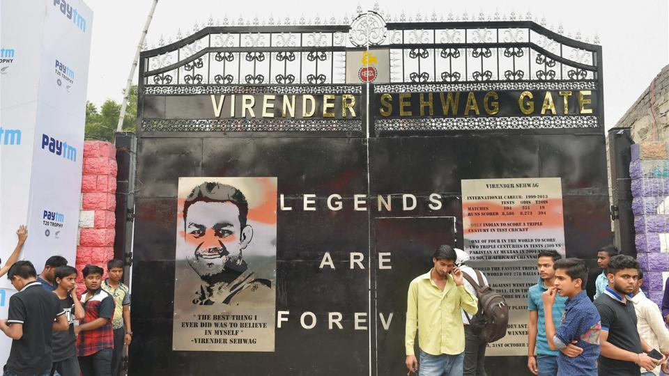 The Delhi District Cricket Association (DDCA) has named Gate 2 of the Ferozeshah Kotla Stadium as the 'Virender Sehwag Gate'. (PTI)