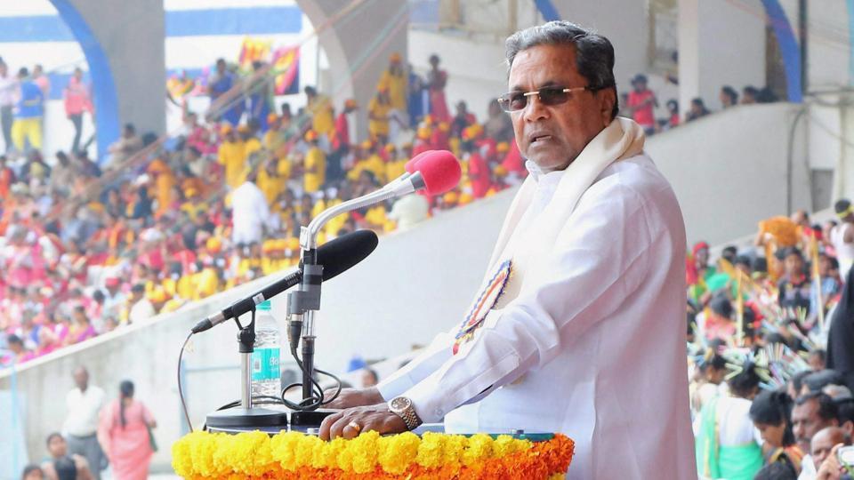 Karnataka Chief Minister Siddaramaiah speaks during the 62nd Kannada Rajyotsava Day (Karnataka state formation day) function at Kanteerava stadium in Bengaluru on Wednesday.
